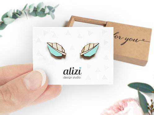 Earrings - Leafs - Mint