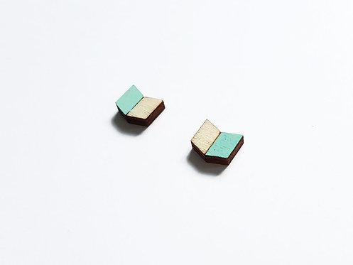 ALIZI.PLAY-WOOD Earrings - chevron V - mint