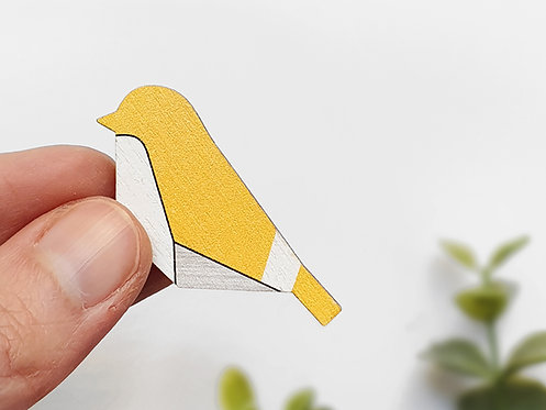 MINI Brooch - Geometric Bird - Yellow