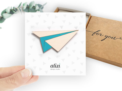 Brooch -Plane - Turquoise