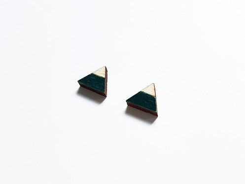 Earrings - triangle split - black