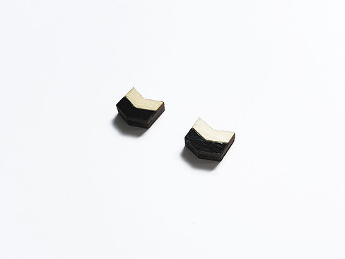 Earrings - chevron H - black