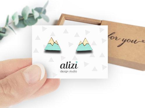 Earrings - Mountains - Mint