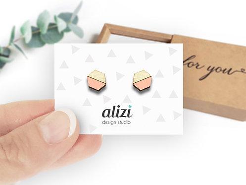 Earrings - Hexagons Split- Peach