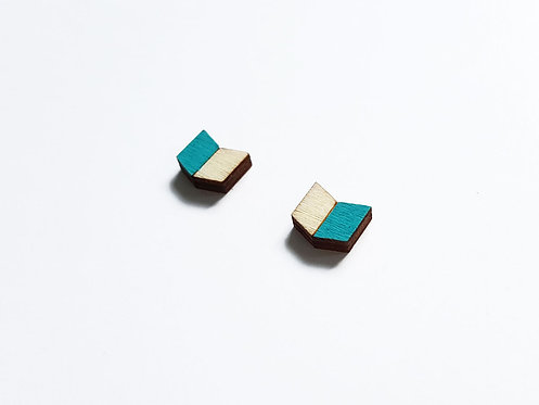 Earrings - chevron V - turquoise