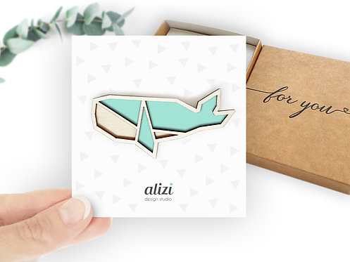 Brooch - Whale / Double - Mint
