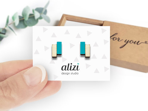 Earrings - Blocks- Turquoise