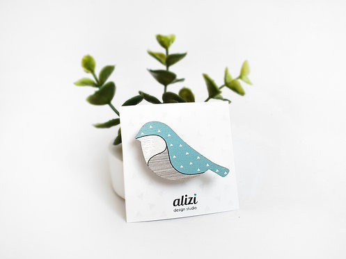 MINI Brooch - Bird Rounded - Mint