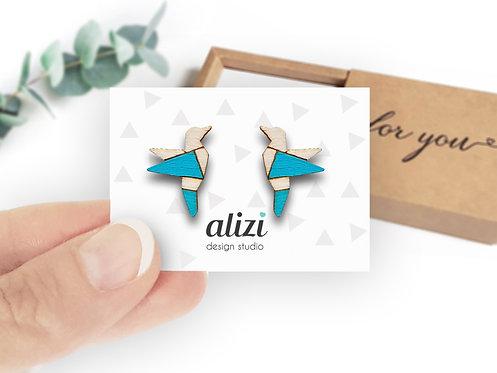 Earrings - Birds Origami - Turquoise