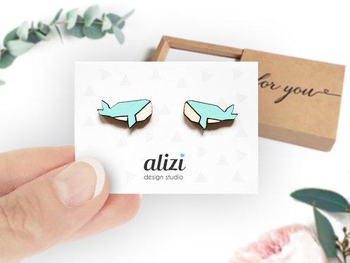 Earrings - Whales -Mint
