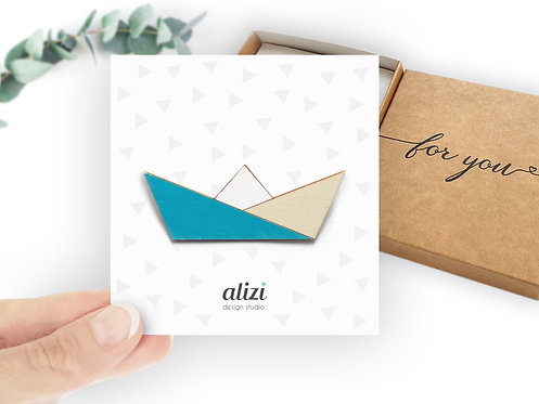 Brooch - Boat - Turquoise