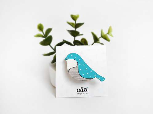 MINI Brooch - Bird Rounded - Turquoise