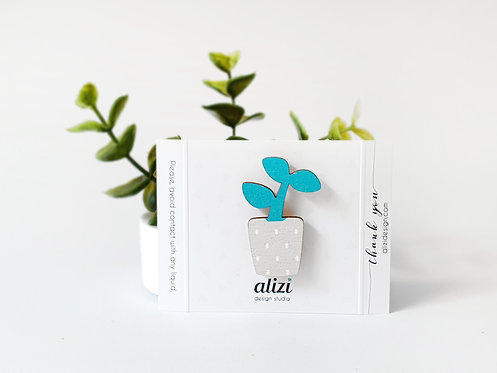 MINI Brooch - Young Plant - Turquoise