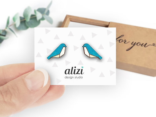 Earrings - Birds Geometric - Turquoise