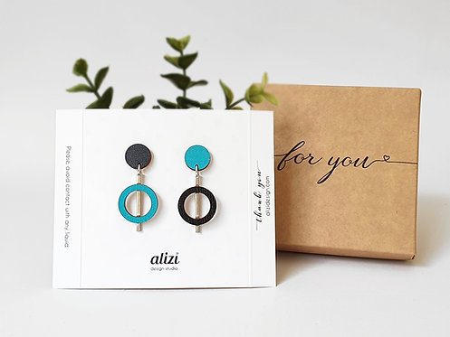 Studs 3 parts - Circle Ring - Turquoise