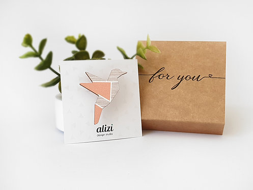 MINI Brooch - Origami Bird - Peach