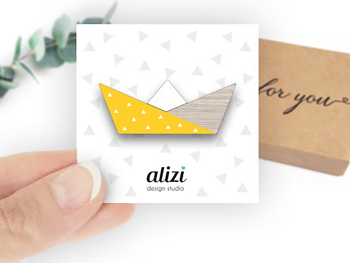MINI Brooch - Paper Boat - Yellow