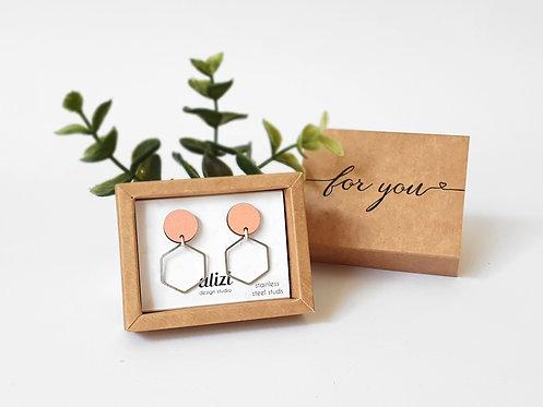 Studs 2 parts - Hexagon - Peach
