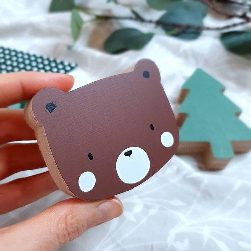 WALL GALLERY - BEAR + TREE (brown / green)