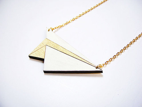 ALIZI.PLAY-WOOD Pendant - paper plane - gold