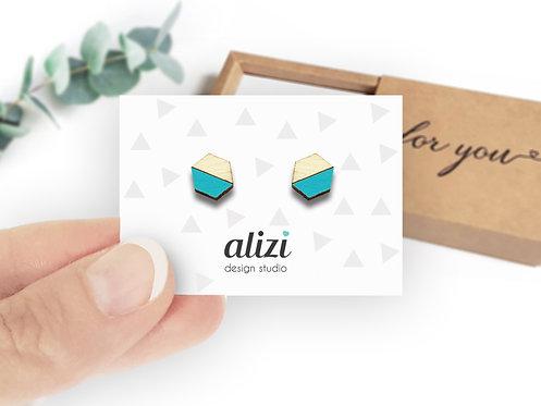 Earrings - Hexagons Split- Turquoise