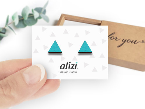 Earrings - Triangles-Turquoise