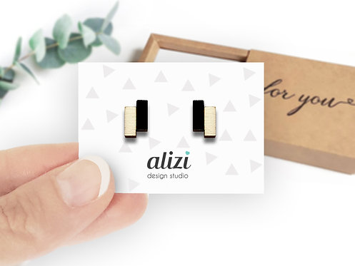 Earrings - Blocks- Black