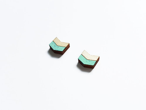 Earrings - chevron H - mint