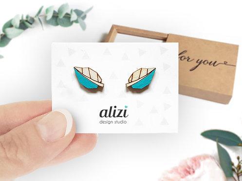 Earrings - Leafs - Turquoise