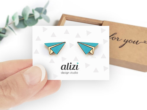 Earrings - Planes - Turquoise