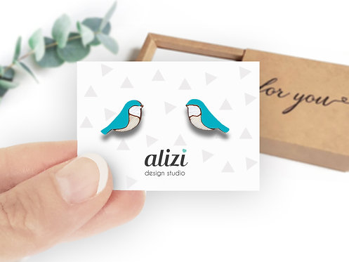Earrings - Birds Rounded - Turquoise