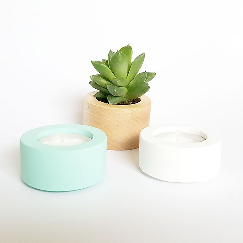 ALIZI.STACK CANDLEHOLDER - wood/mint/white