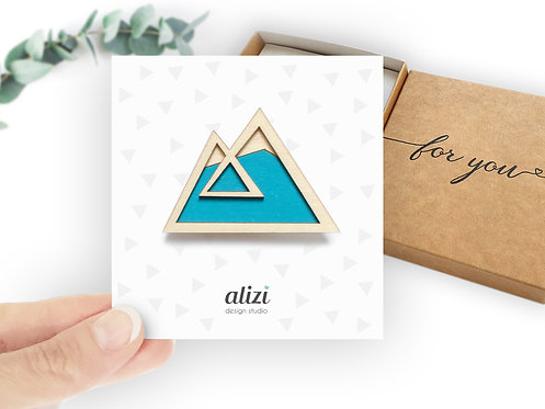 Brooch - Mountain / Double - Turquoise