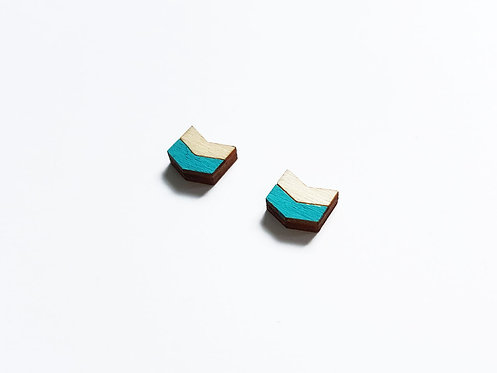 Earrings - chevron H - turquoise