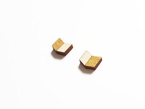 ALIZI.PLAY-WOOD Earrings - chevron V - gold