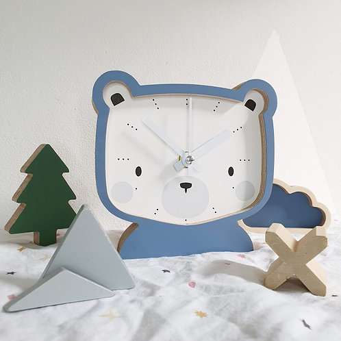 CLOCK - BEAR (grey-blue)