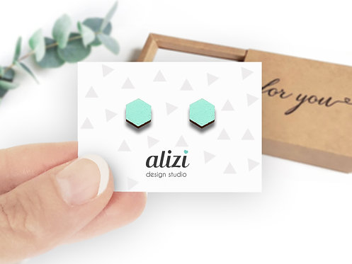 Earrings - Hexagons- Mint