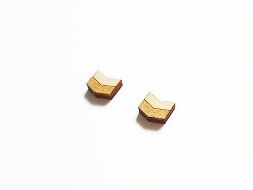 Earrings - chevron H - gold