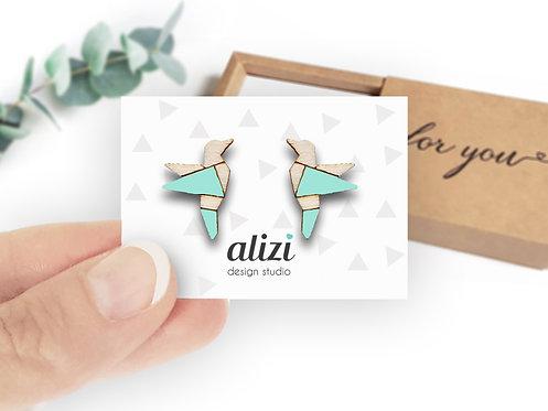 Earrings - Birds Origami -Mint
