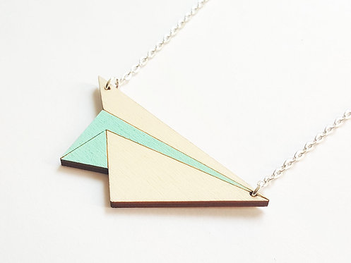 ALIZI.PLAY-WOOD Pendant - paper plane - mint