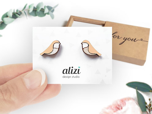 Earrings - Birds Rounded - Peach