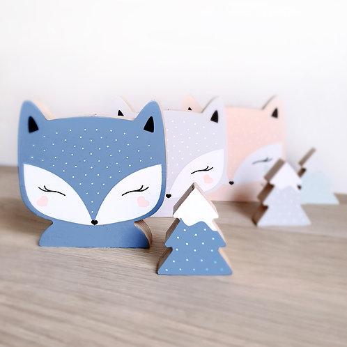 FOX + TREE (grey-blue / grey-blue)