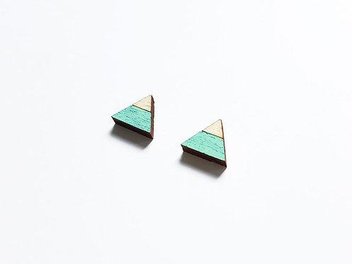 Earrings - triangle split - mint
