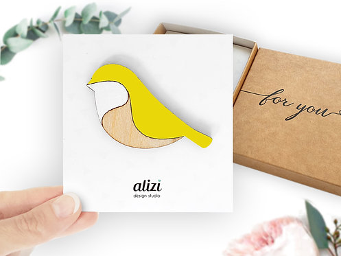 Brooch - Bird Rounded -Yellow
