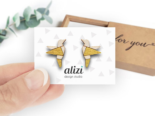Earrings - Birds Origami - Gold