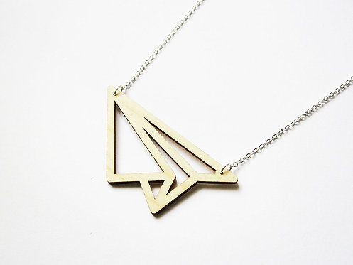 ALIZI.PLAY-WOOD Pendant - paper plane - outline