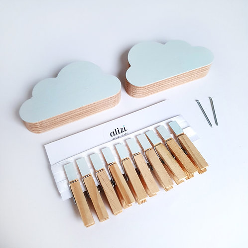 WALL GALLERY - CLOUDS (mint / mint)