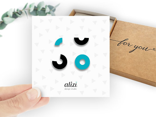 Set of 4 studs - Small Circle - Turquoise