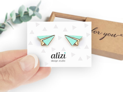 Earrings - Planes - Mint