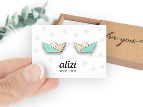 Earrings - Boats - Mint